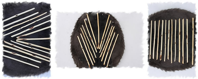 Samples of our tipi pole lace pins.